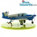 Bonanza Beechcraft blue plane/ airplane Statue tintin Moulinsart (24x36x12cm)