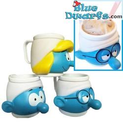 3x Smurf ice mug (plastic)