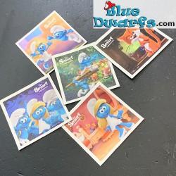 5 Smurfen stickers +/-...