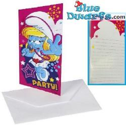6 x invitation cards smurfs...
