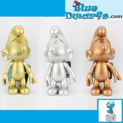 3x Plastic movable smurf...
