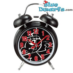 Black smurf mini clock with alarm (keyring)