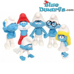 6 x smurf figurine *Plastic* (Goldie Marketing, +/- 15 cm)