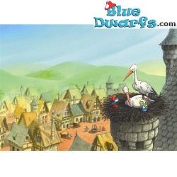 Poster 'Stork with papa and smurfette' (50 x 70 cm)