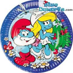 8 x smurfette/Papa smurf Paper plates (18 cm)