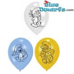 6 x ballon smurfen (22.8 cm)