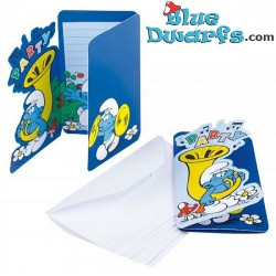 6 x invitation cards smurfs