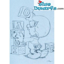 Postcard: Babysmurf with Blocks SKETCHED (15 x 10,5 cm)