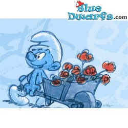 Postcard: Smurf with  Wheelbarrow and roses SKETCHED (15 x 10,5 cm)