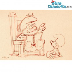 Postcard: Papa smurf reading a book for baby smurf SKETCHED (15 x 10,5 cm)