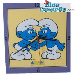 Shaking hands smurfs clock
