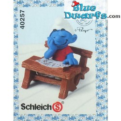 40257: Sleeping smurf at Schooldesk (Supersmurf/ MIB)