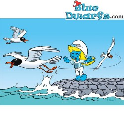 Postcard: gulls and smurfette (15 x 10,5 cm)