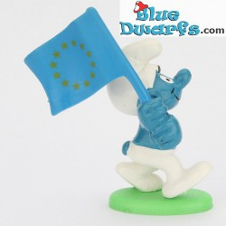 20409: Patriot Smurf with European flag *LIGHTBLUE FLAG*