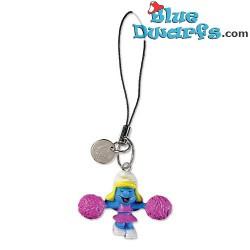 Plastic smurf pendant: Cheerleader Smurfette (+/- 2,5 cm)
