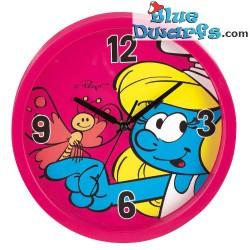 Schtroumpfette avec chenille *Horloge murale* (+/- 25 cm)