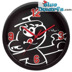 Black smurf wall clock (+/- 25 cm)