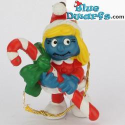 51912: Pitufina de Navidad con bastón de caramelos