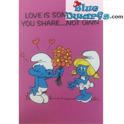 "Smurfenposter ""Love is something you share...not own"" NR. 7616 (49x34 cm/ 1981)"