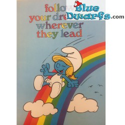 "Smurfenposter smurfin ""Follow your dreams wherever they lead"" NR. 7622 (49x34 cm/ 1981)"