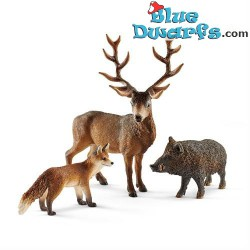 Schleich animals: raindeer, fox, wild boar (41458)