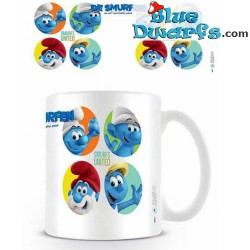 1 x The lost village smurf mug/ VERLOREN DORP: SMURFS UNITED (32,5 cl)