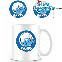 "1 x The lost village smurf mug: ""SMURF WAVING LOGO"" (32,5 cl)"